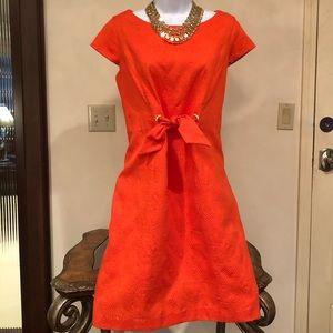 JESSICA HOWARD orange lined cotton dress waist tie